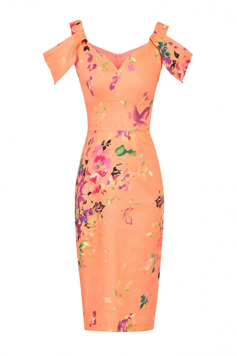 Jolie Moi - Orange floral print structured dress, Coral