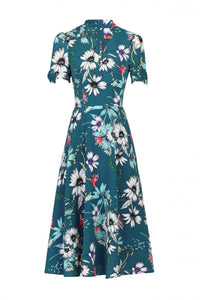 Jolie Moi Floral Print Bow Detail Tea Dress, TEAL