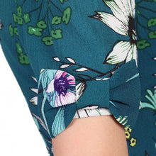 Load image into Gallery viewer, Jolie Moi Floral Print Bow Detail Tea Dress, TEAL