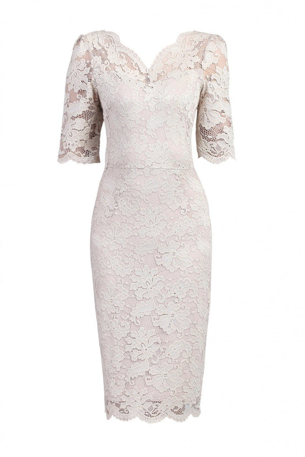Jolie Moi Lace V Neck Bodycon Dress, Taupe