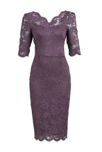 Load image into Gallery viewer, Lace V Neck Bodycon Dress