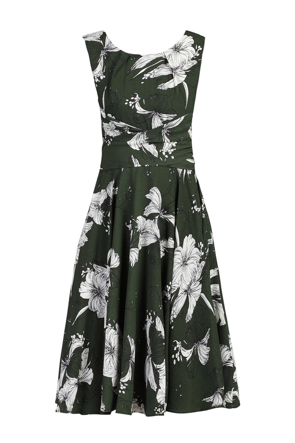 Printed Chiffon Wrap Belted Dress