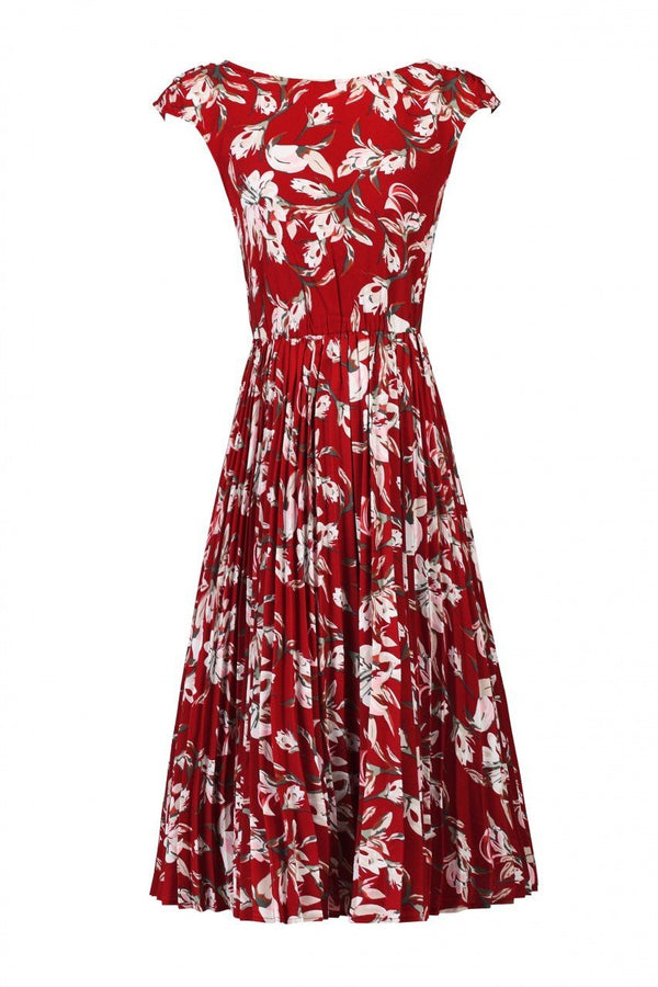Floral Print Pleated Tea Dress