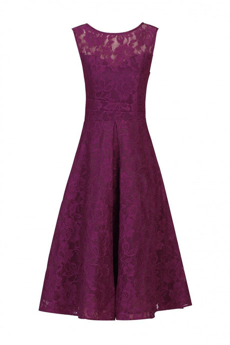 Jolie Moi Lace Bonded Prom Dress, Berry