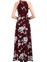 Load image into Gallery viewer, Floral Print Halter Neck Maxi Dress