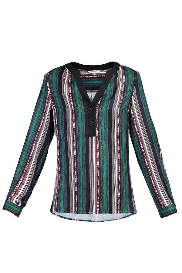 Jolie Moi V-Neck Striped Blouse