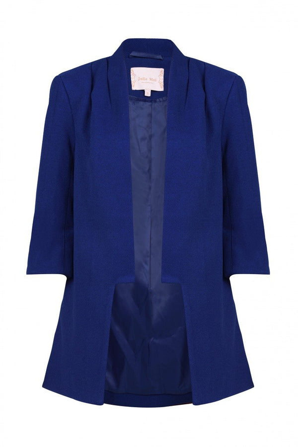 Jolie Moi Open Front Detail Blazer, Royal Blue