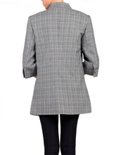 Load image into Gallery viewer, Jolie Moi Open Front Blazer, Grey Check