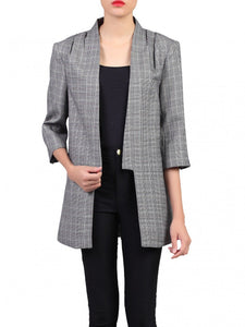 Jolie Moi Open Front Blazer, Grey Check