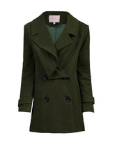 Load image into Gallery viewer, Jolie Moi Asymmetric Front Coat, Soldier Green