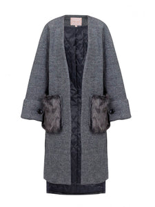 Faux Fur Pocket Padded Inner Coat