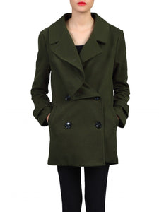 Jolie Moi Asymmetric Front Coat, Soldier Green