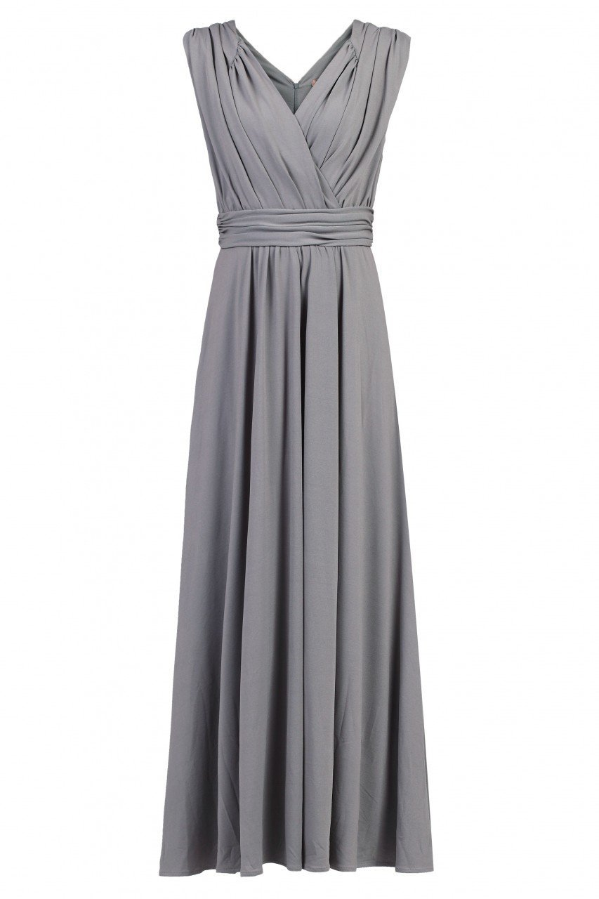 Plunge Neck Draped Maxi Dress