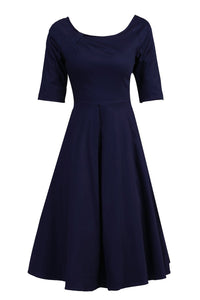Half Sleeved Retro Swing Dress, Navy