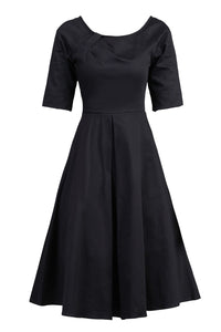 Jolie Moi Scoop Neck Half Sleeved Retro Swing Dress, Black
