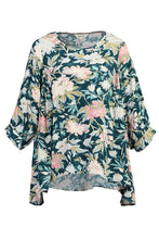 Load image into Gallery viewer, Jolie Moi Floral Print Comfy Blouse, Teal Floral