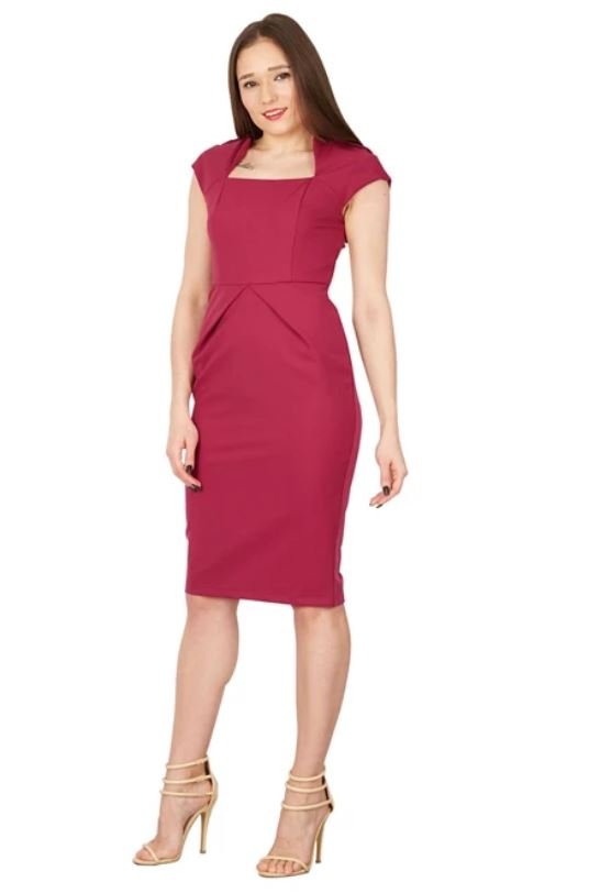 Fold Detail Bodycon Dress, Berry
