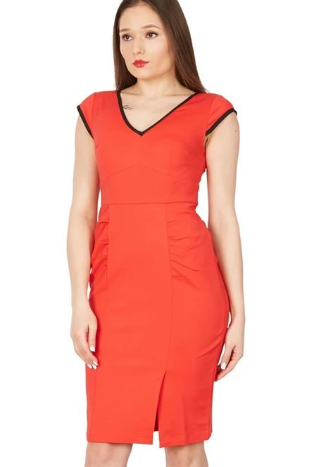 Jolie Moi - Red Trimmed V Neck Cap Sleeves Bodycon Dress, Red
