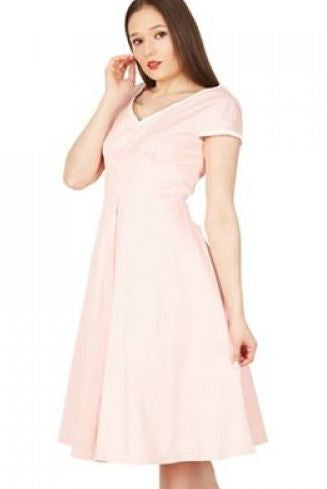 Jolie Moi - Light Pink Trimmed V Neck Cap Sleeves Swing Dress