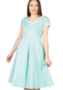 Jolie Moi - Light Green Trimmed V Neck Cap Sleeves Swing Dress