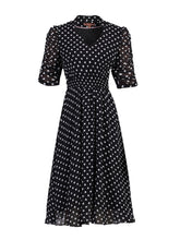 Load image into Gallery viewer, V Neckline Ruched Sleeve Tea Dress, Black Polka Dots