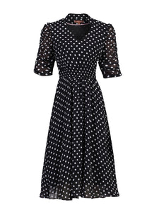 V Neckline Ruched Sleeve Tea Dress, Black Polka Dots