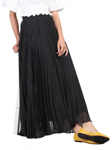 Jolie Moi Polka Dot Maxi Skirt, BLACK / WHITE