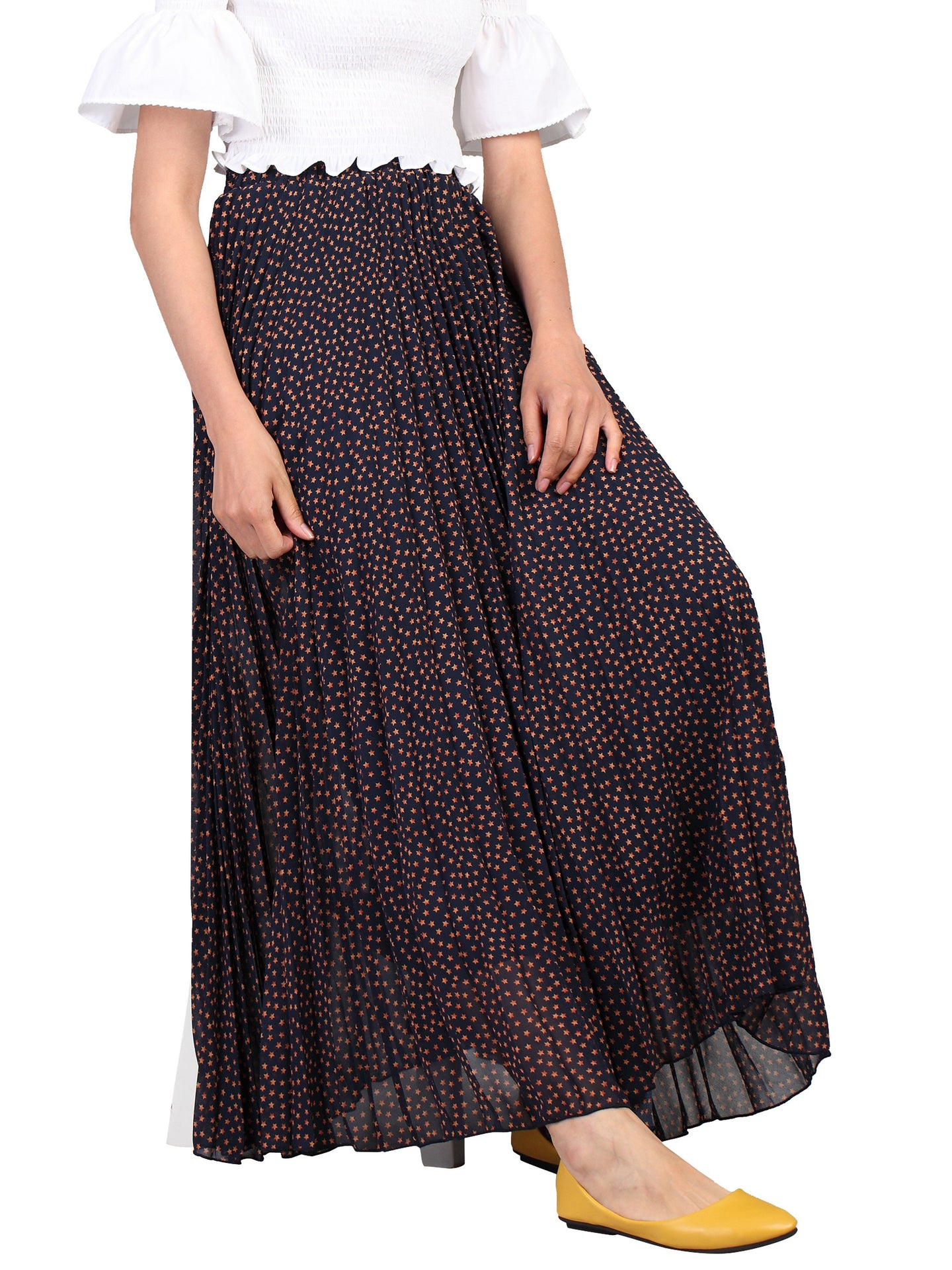 Jolie Moi Print Pleated Maxi Skirt, Navy Star