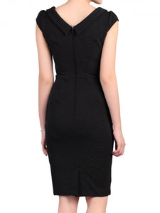 Collared Cap Sleeved Dress, Black