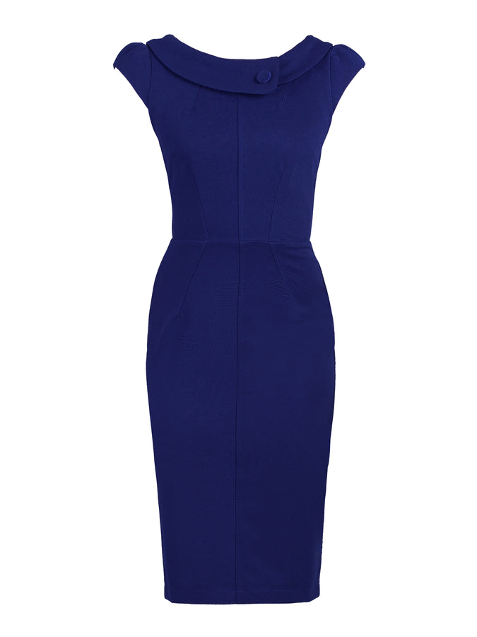 Retro Collar Cap Sleeve Dress, Royal Blue