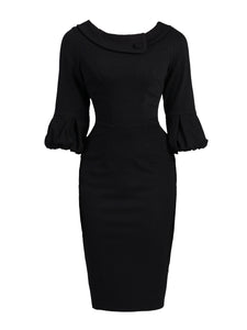 Retro Bell Sleeve Wrap Collar Dress