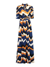 Load image into Gallery viewer, Tie Collar Maxi Dress, Blue Pattern