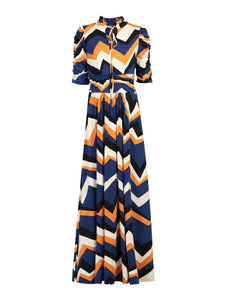 Tie Collar Maxi Dress, Blue Pattern