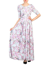 Load image into Gallery viewer, Half Sleeve Maxi Dress , Aqua Floral