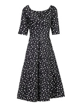 Load image into Gallery viewer, Jolie Moi Scoop Neck Half Sleeved Retro Swing Dress, Black Pattern