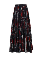 Load image into Gallery viewer, Jolie Moi Tired Maxi Skirt, Balck Multi