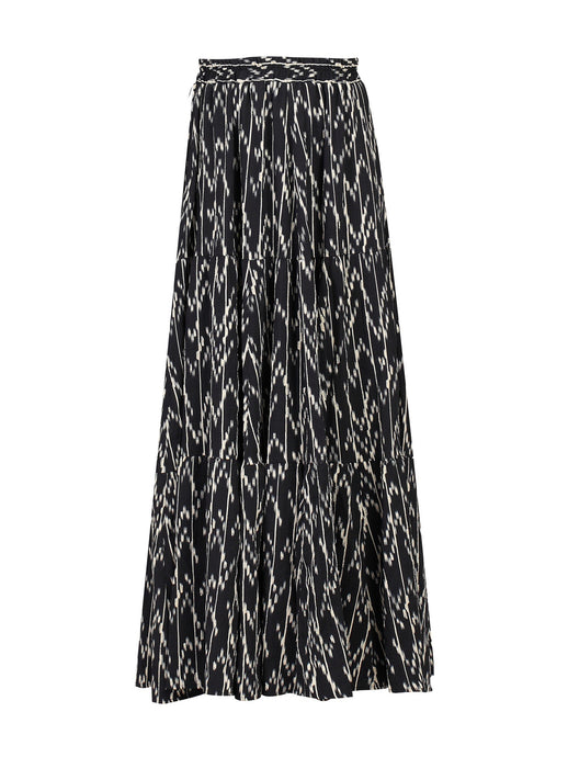 Jolie Moi Tiered Maxi Skirt, Black Pattern