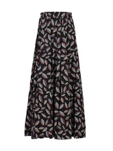 Load image into Gallery viewer, Jolie Moi Tiered Maxi Skirt, Black Leafy
