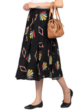Load image into Gallery viewer, Tiered Geo Print Midi Skirt, Black Pattern