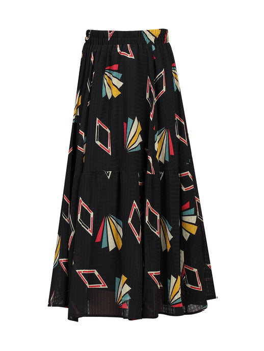 Tiered Geo Print Midi Skirt, Black Pattern