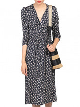Load image into Gallery viewer, 3/4 Sleeve Print Viscose Dress, Black Pattern