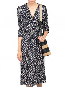 3/4 Sleeve Print Viscose Dress, Black Pattern