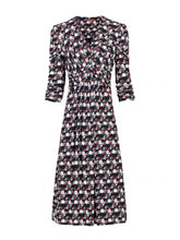 Load image into Gallery viewer, 3/4 Sleeve Wrap Front Dress, Black Multi