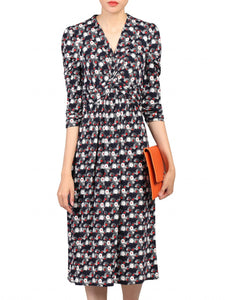 3/4 Sleeve Wrap Front Dress, Black Multi