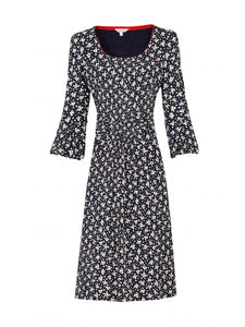 Print 3/4 Sleeve Shift Dress, Black Leafy