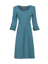 Load image into Gallery viewer, Print 3/4 Bell Sleeve Shift Dress, Blue Pattern