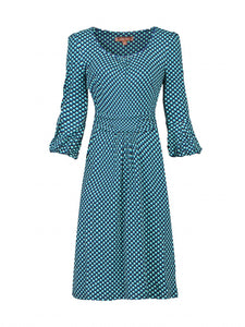 Print 3/4 Bell Sleeve Shift Dress, Blue Pattern