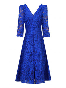 Jolie Moi Three Quarter Sleeved Lace Bridesmaid Dress, Royal Blue-Jolie Moi