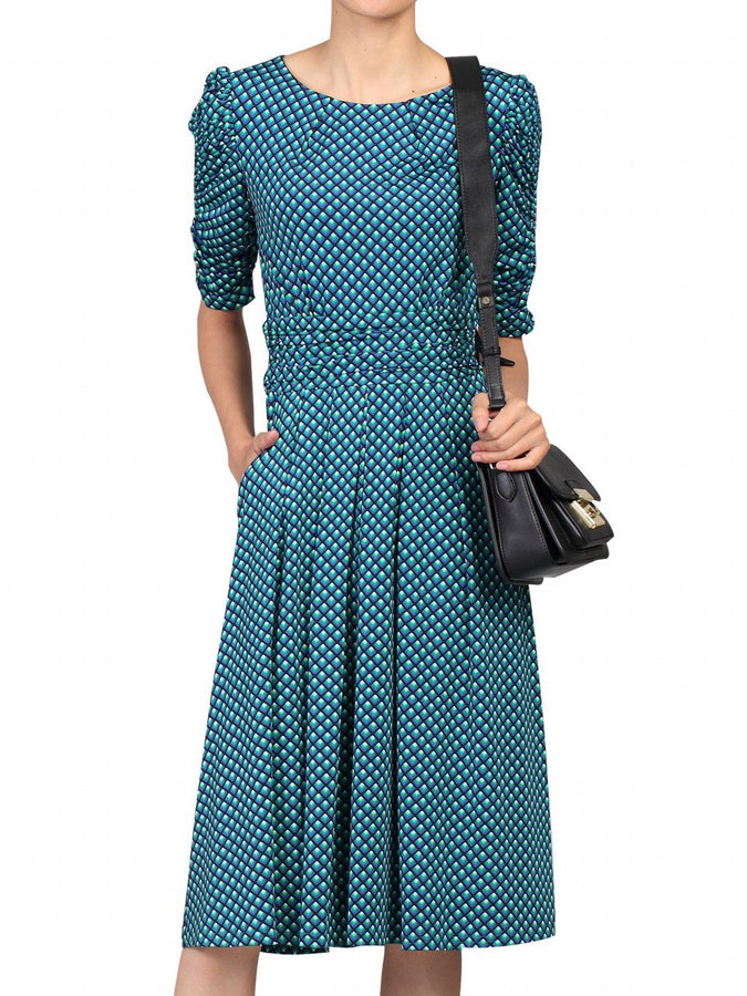 Jolie Moi Half Sleeve Dress, Blue Pattern