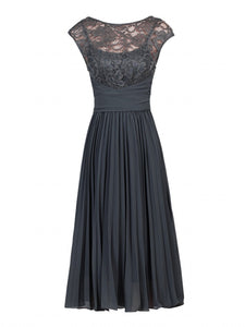 Jolie Moi Lace Bodice Pleated Dress, Dark Grey